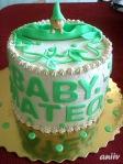 """""""Бебе в шушулка"""" - Вита торта с какаови пандишпанени блатове и карамелен крем Дулсе лече. Покритие карамелен крем с млечна сметана и фигурки от захарен фондан"""